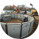 Сооружение опускных колодцев и кессонов