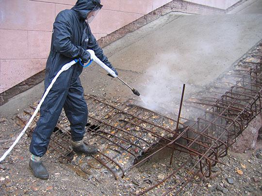 Разрушение бетона порошком