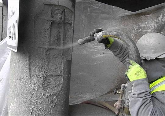 Торкретирование бетонных колонн