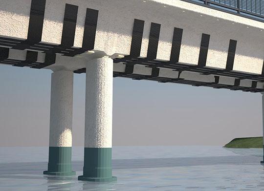 Усиление колонн моста